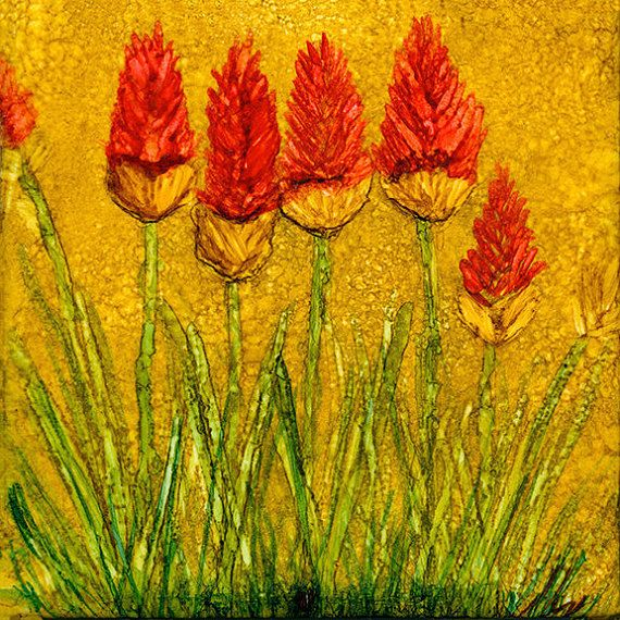 Red Hot Pokers is an original Alcohol Ink Painting on a 4.25 x 4.25 Ceramic Tile. Hand Painted One-of-a-Kind (OOAK) Alcohol Ink on Tile with a 1/8 thick cork back. Can be displayed with either an easel or a nice piece of driftwood like this one. This sale is for the tile only.  Specifications:  • 4.25 x 4.25 Ceramic Tile  • 1/8 thick Cork Back  • Colors: Reds, Greens, Yellows, Golden Orange/Brown  • Coated with Krylon Triple Coat Glaze and then coated with a clear Resin* giving...