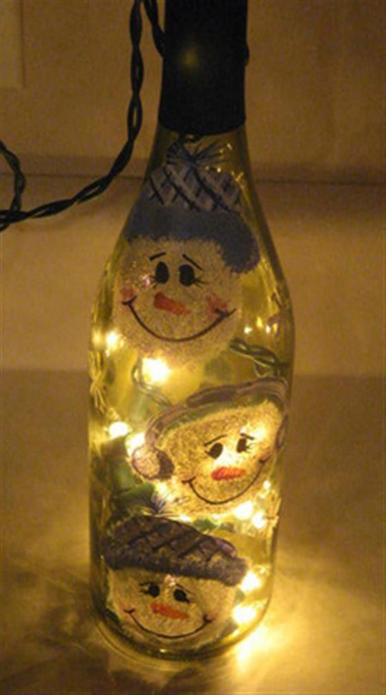 Bing : wine bottle crafts with lights. Perfect way to use the empty wine bottles!