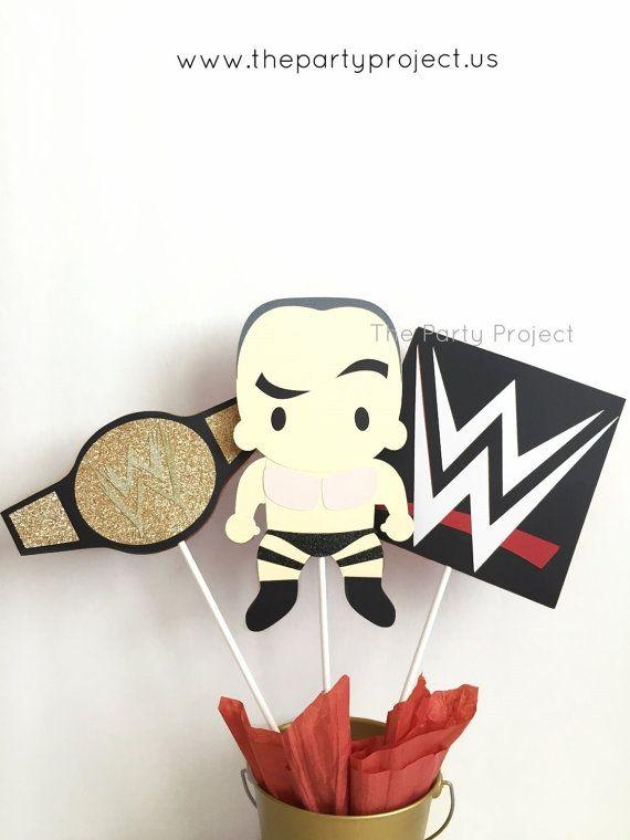 Free Shipping - WWE Wrestling Centerpiece | Wrestler, WWE Logo, championship belt | WWE birthday party or baby shower | Wrestling party!