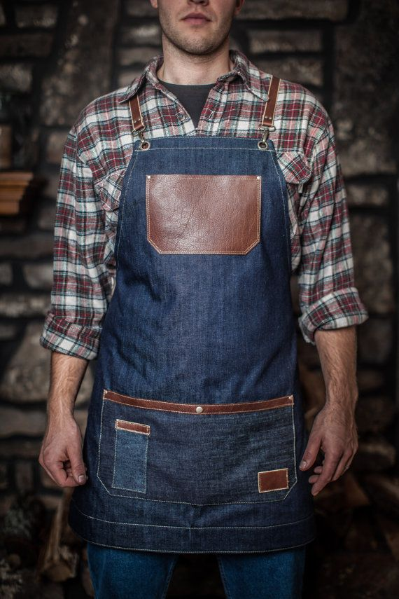 Hand-Crafted Rustic Denim and Leather Apron by AuthenticSundry