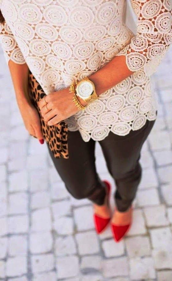 3/4 Sleeves White Lace Top