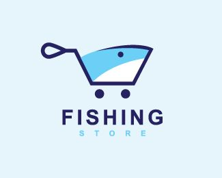 Logo in the shape of a hook similar to a shopping cart in conjunction with a fish with blue colors.(logo for sale, logo design,  fishing, fish, shark, online store, shopping cart, farmshop, catch, hook, animal, sea, logo).