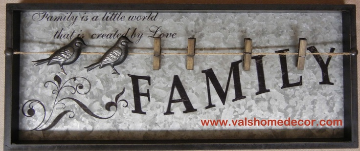 Family Wall Sign with clothespin note/photo holder