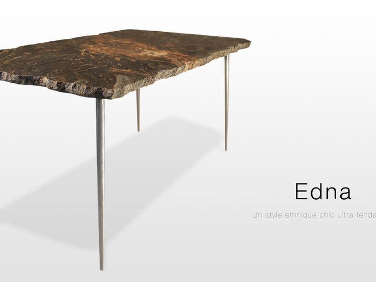 Edna: table basse en granit magma finition brute