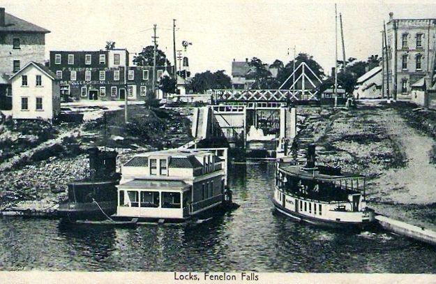 Vintage photo of Lock 34 Fenelon Falls Ontario, part of the Trent Severn Waterway, Kawartha Lakes Ontario.