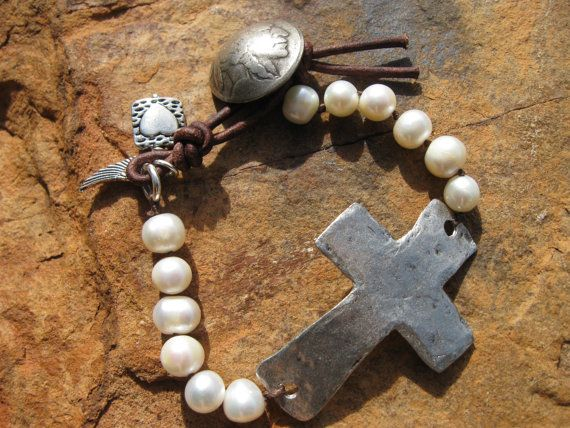 Pearl and Cross Bracelet Rustic knots Pearls door fleurdesignz