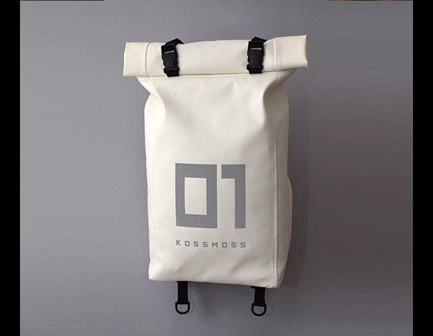 Rucksäcke - Reflektierende RollTop Eco Leder Rucksack - ein Designerstück von Kossmoss bei DaWanda