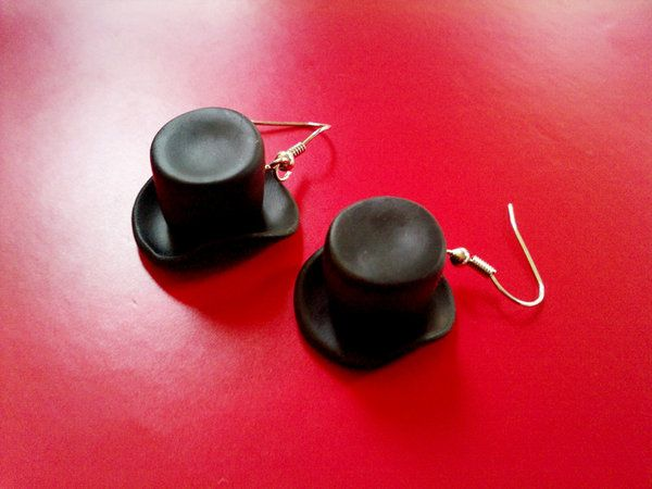 DIY Polymer Clay Top Hat Earrings (How about in brown w/some distressing, gears, chains, & googles for a nice steampunk look?) (Inspiration Only. No Pattern or Instructions.)