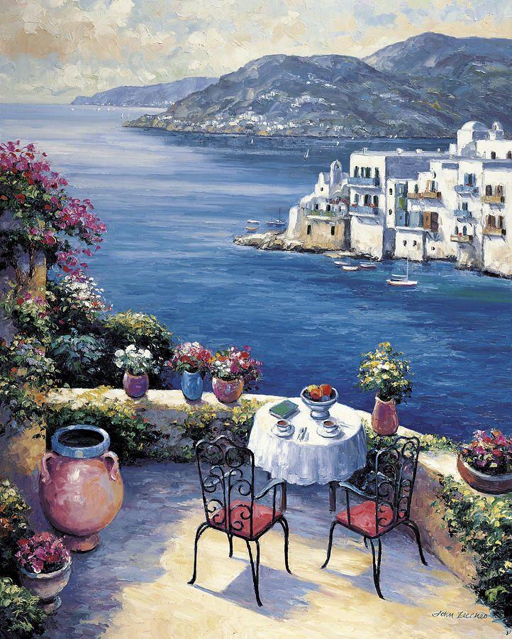 Pallet Painting - Aegean Vista by John Zaccheo