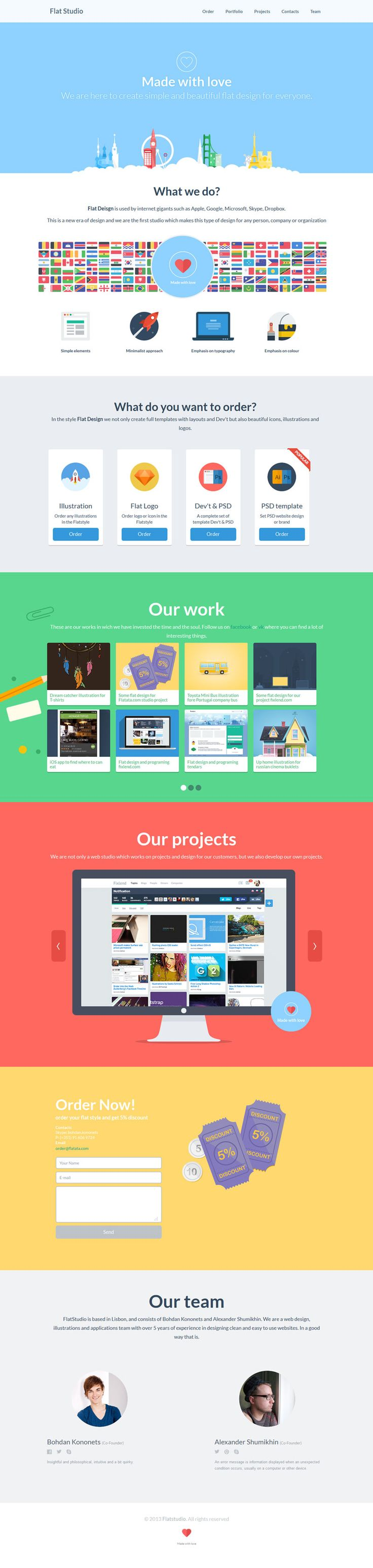 Flat-Studio, flat web design, example
