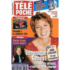 """Véronique Genest Julie Lescaut, 10 ans d'enquête : """"Mes petits défauts, c'est tout mon charme"""", dans Télé Poche n°1829 du 26/02/2001 [couverture et article mis en vente par Presse-Mémoire]"""