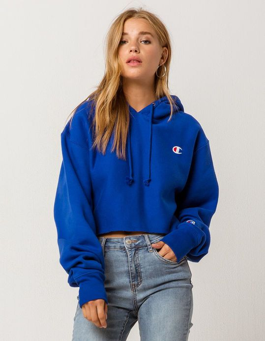 547958223e59ee Leila L.......CHAMPION Reverse Weave Royal Womens Crop Hoodie