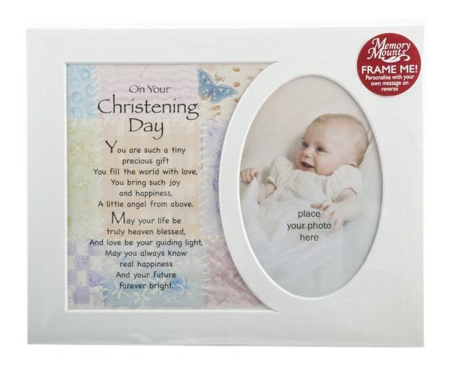 Christening day baby photo mount