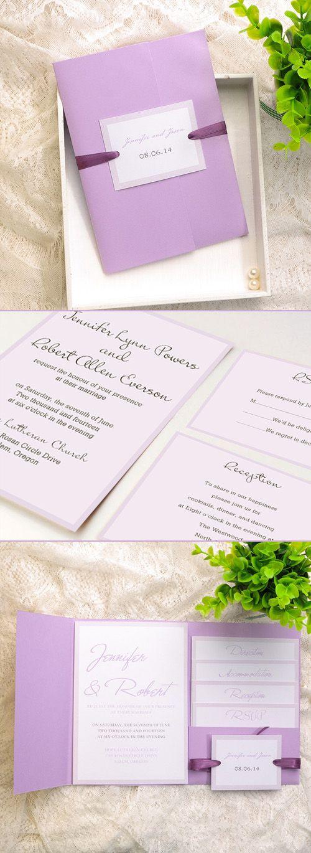 Shades of Purple and Lavender Elegant Pocket Wedding Invitations