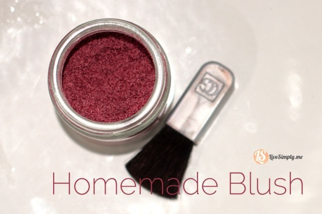 homemade all natural blush from beet powder, arrowroot powder, ground nutmeg, ground ginger, and essential oil