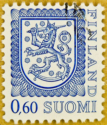 """stamp Suomi Finland 0.60 M posatge blue poste timbre finlande selo francobolli finlandia porto franco sellos """"armorial bearings""""…"""