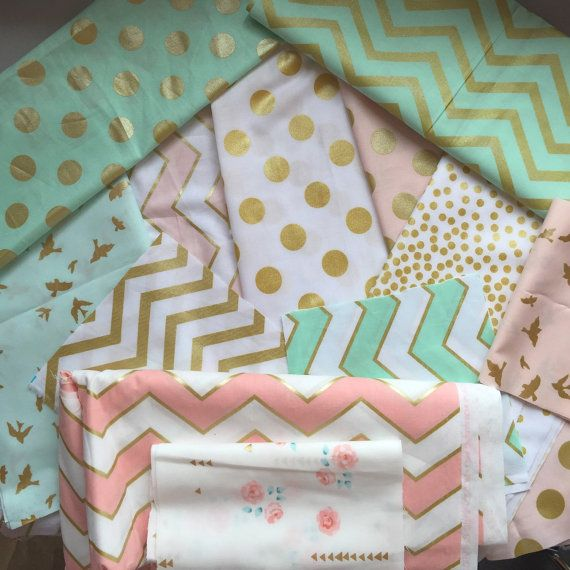 CRIB BEDDING Mint/Blush/Peach/Gold/White от LittleMooseByLiza