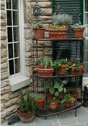 For Maeve: A Great Way To Have An Herb Garden. Pots On A Bakeru0027s Rack.