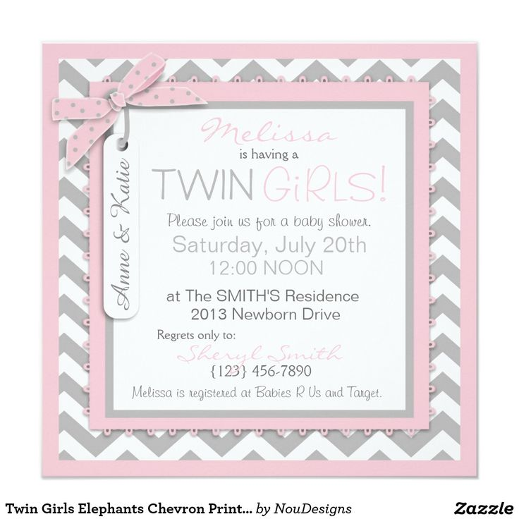 twin girls elephants chevron print baby shower card