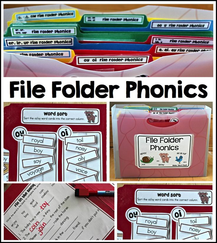 File Folder Phonics- great hands-on activities for learning targeted phonics skills.