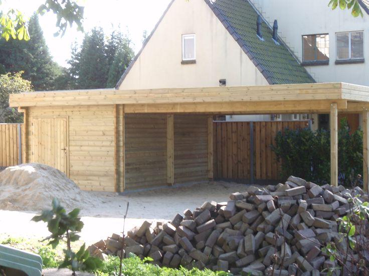 blokhut, tuinhuis, met carport/overkapping, tuin, oprit, tuinmani