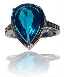 'Bali Hai' Steel Ring  With a large pear-shaped glass stone, you won't look at the brilliant turquoise colour without dreaming of your next walk on the beach.  Sturdy, durable, infinitely gorgeous, the Bali Hai ring is available in sizes 6, 7, 8 and 9. $23.00 bettenoirebijoux@gmail.com to get yours.