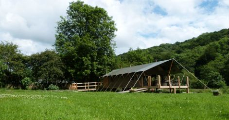 Felin Geri Safari Tents in the in the idyllic wooded Ceri Valley.