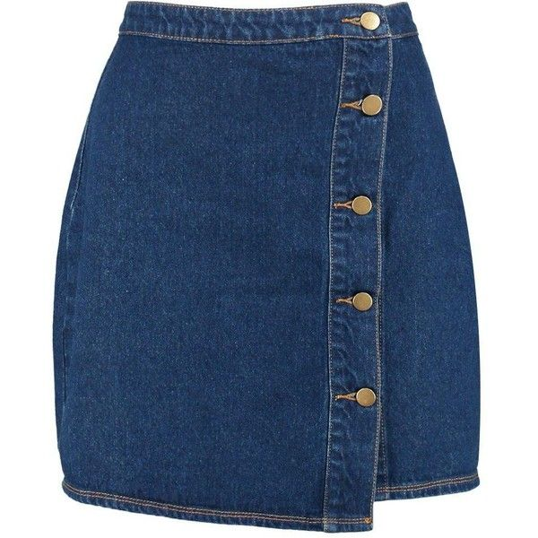 Boohoo Blue Daisy Wrap 5 Button Denim Skirt (207.680 IDR) ❤ liked on Polyvore featuring skirts, pleated midi skirt, blue bodycon skirt, denim wrap skirt, mid calf skirts and blue pleated skirt