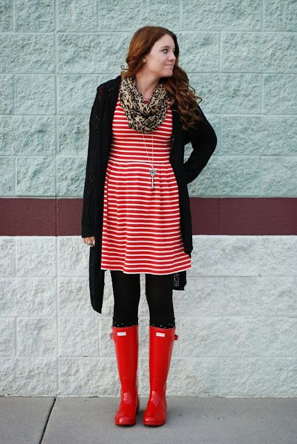 Stripes And Red Hunter Rain Boots!! Outfit From The Red Closet Diary Blog. | Fashion ...