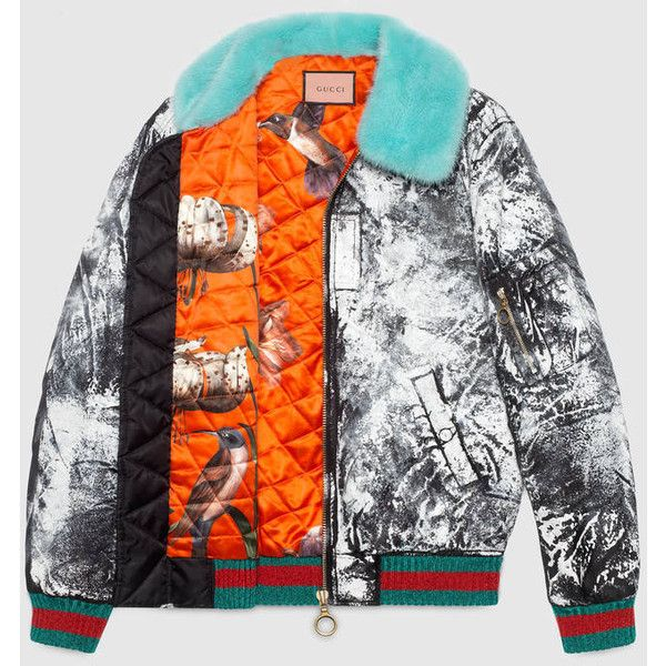 Gucci Guccighost Hand Painted Bomber ($4,605) ❤ liked on Polyvore featuring outerwear, jackets, bomber jacket, zip bomber jacket, bomber style jacket, oversized jackets and gucci