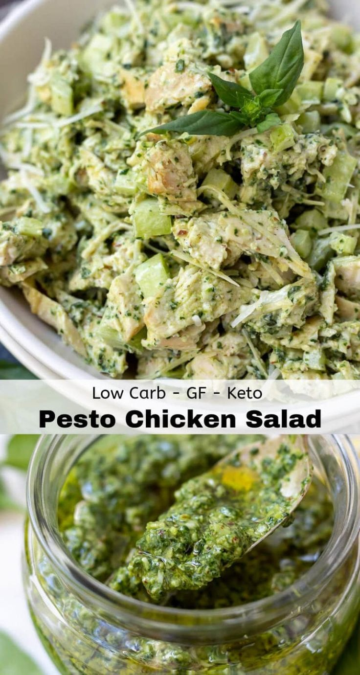 This Pesto Chicken Salad Recipe is a great way to add flavor to those boring lun…