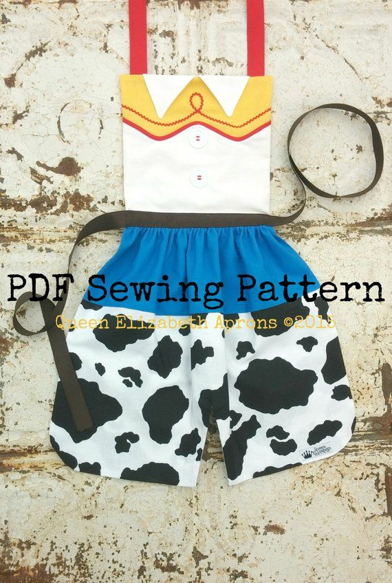 JESSE TOY STORY Disney Pixar inspired Child Costume Apron Pdf Sewing Pattern. Size 2 -Girls 8 Toddle