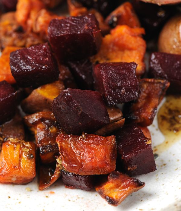 Sweet and earthy, this sumptuous roast vegetable recipe with beetroot and sweet potato provides a side dish which will complement a range of gamey meats. Try with duck, quail, turkey or even chicken as a colourful side for a mid-week meal.