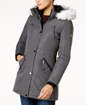 Halifax Faux-Fur-Trim Water-Resistant Coat, A Macy's Exclusive - Gray XXL
