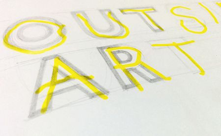 Layered lettering for an Outsidart logotype proposal