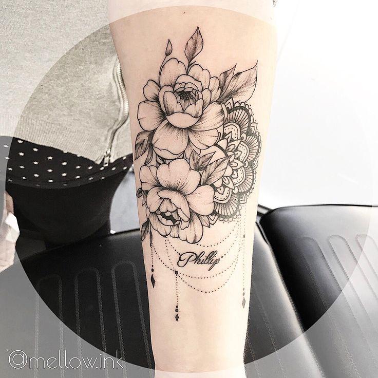 #peony #mellowink #linework #peonytattoo #myart #tattoo #tattooart #mandala