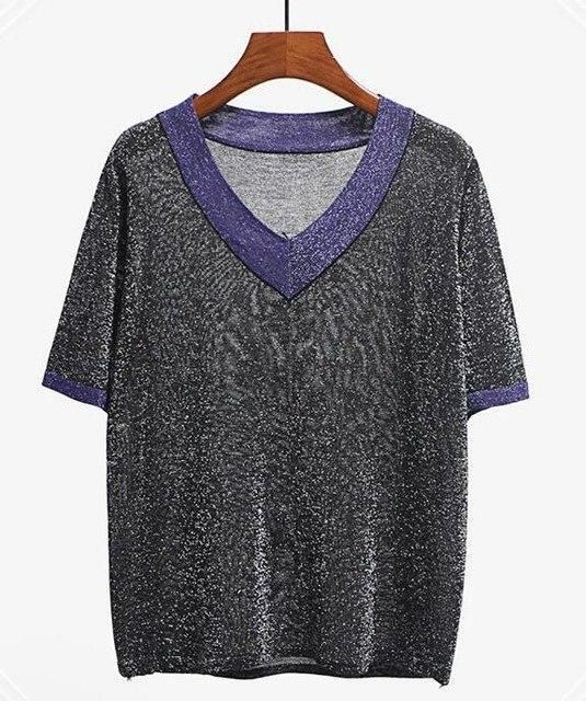 NIJIUDING Bright Ice Silk Sweaters 2018 Women Summer Knitted Pullovers V-Neck Short Sleeve Shirt Patchwork Casual Loose Tops New