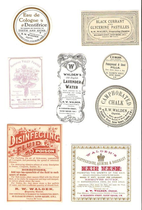 Antique Collection of 8 Victorian Chemist Labels