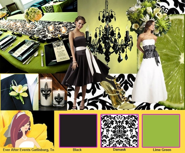 Damask and Lime Green color palette- a way to do green and black with some texture
