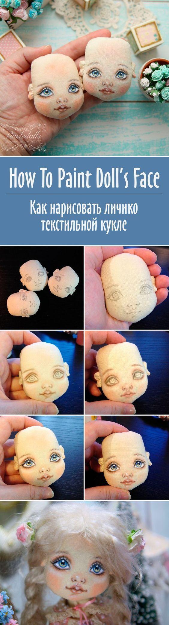 How To Paint Doll's Face   Как нарисовать личико текстильной кукле