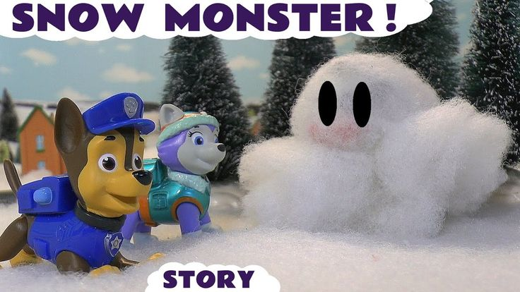 Paw Patrol Stop Motion Play Doh Snow Monster Episode with Thomas and Fri...