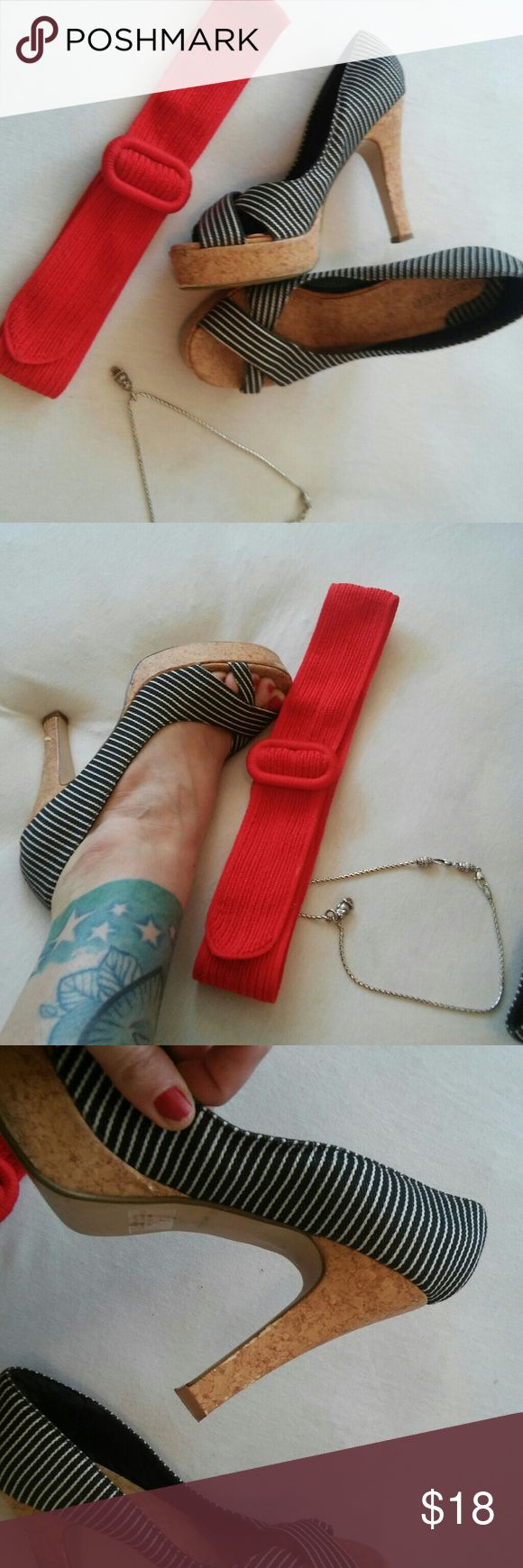 8 Nautical jean stipe cork heels Used but still in good condition. Some scrapes on cork. Really cute for summer. True size 8 charles albert Shoes