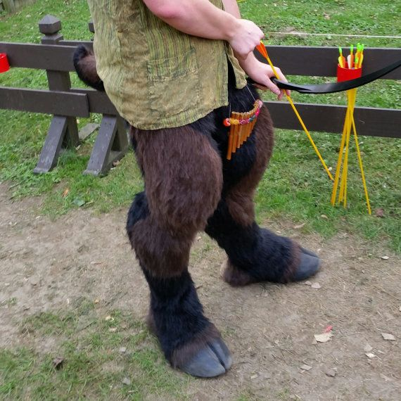 Item is a made to order set of faun legs. These include shaped legs, attached tail, and removable hoof shoes for ease of wear. These are form fitted to