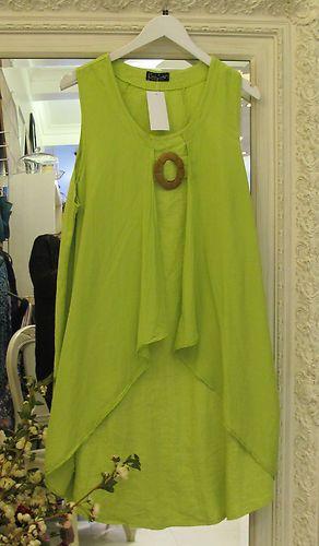 Sarah Santos Lagenlook Pink Green Linen Tunic Summer Dress Layered Oversized New