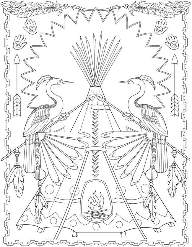 Creative Haven Native American Designs Coloring Book 5 Sample
