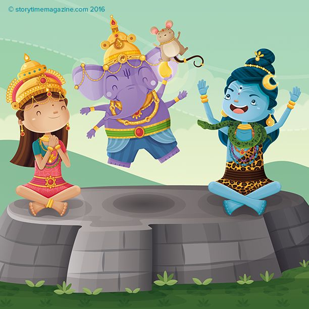 Ganesha the Elephant God - our Around the World Tale from Storytime Issue 25. Beautifully illustrated by Andres Salinas (https://www.behance.net/anbardg) ~ STORYTIMEMAGAZINE.COM
