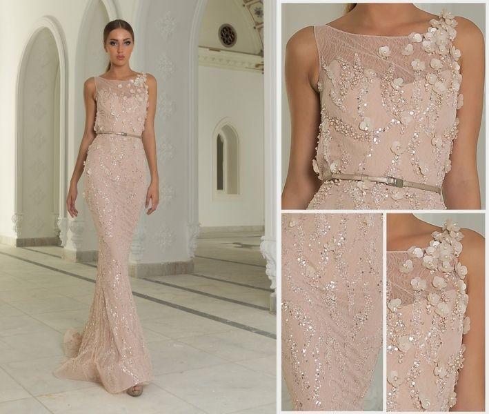 Cheap Custom made rosa stile arabo pizzo vestito aderente abito da sera corsetto…