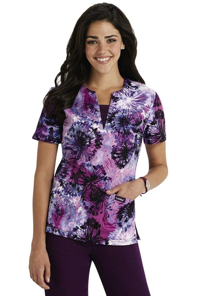 Landau Smart Stretch Dandelion Dusk print scrub top. Main Image