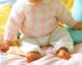 baby aran  jumper aran cable vintage knitting pattern PDF