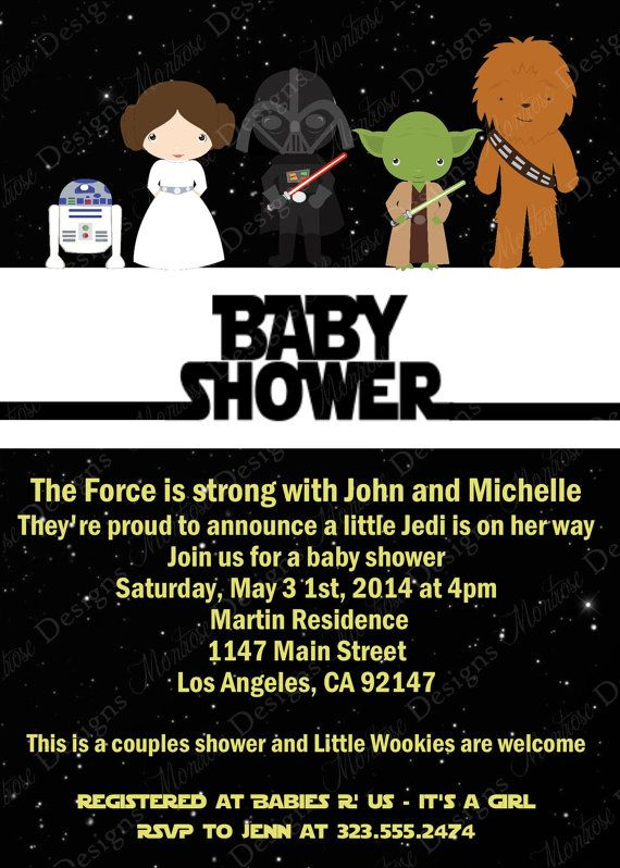 star wars baby shower invitation digital file creative i am and